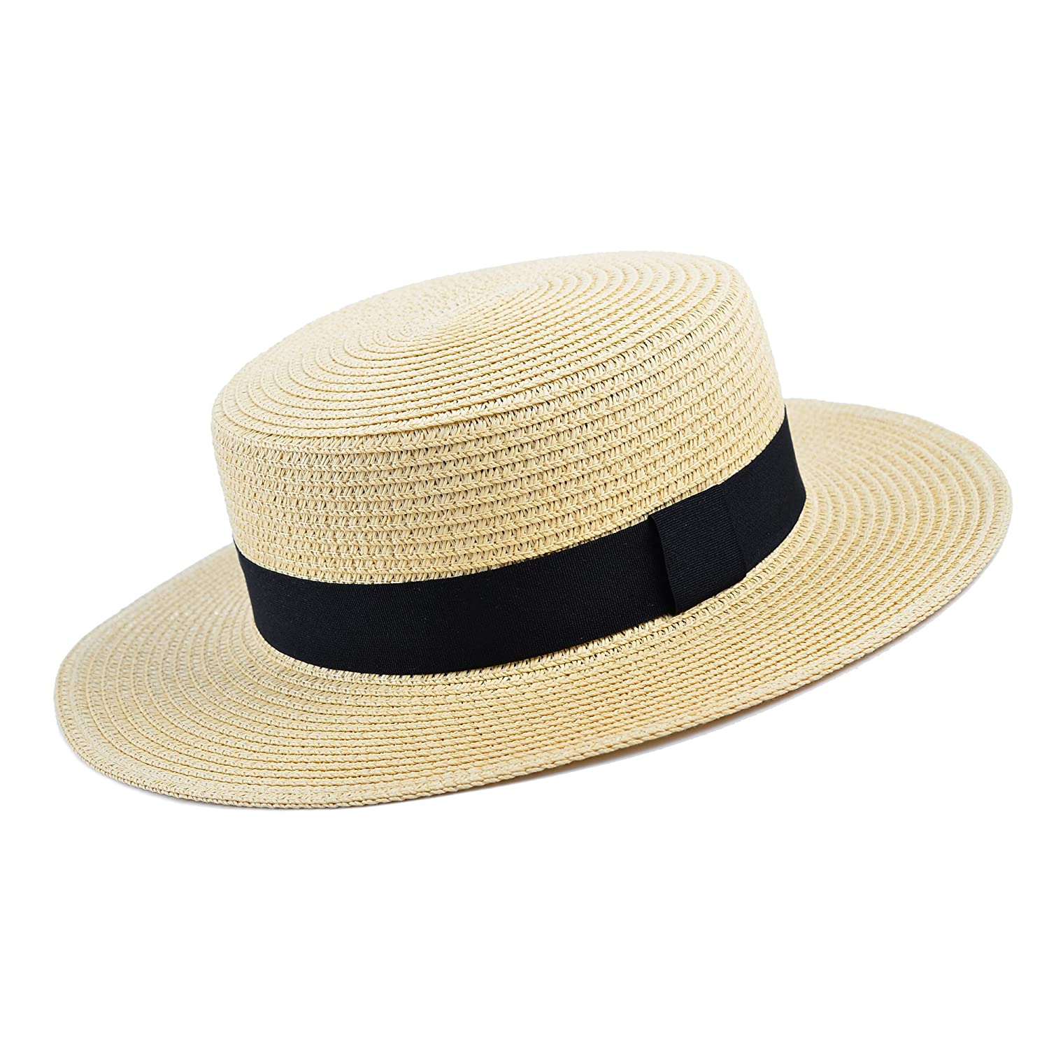 378f6cef32c MATCH MUCH Straw Boater Hat (Cream Hat Wide Brim Knot Band) at Amazon Men s  Clothing store