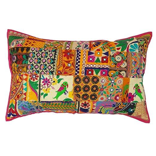Cojín Indio Cubierta Decoración Banda Funda De Almohada De Algodón Bordado Decorativo Sham 30