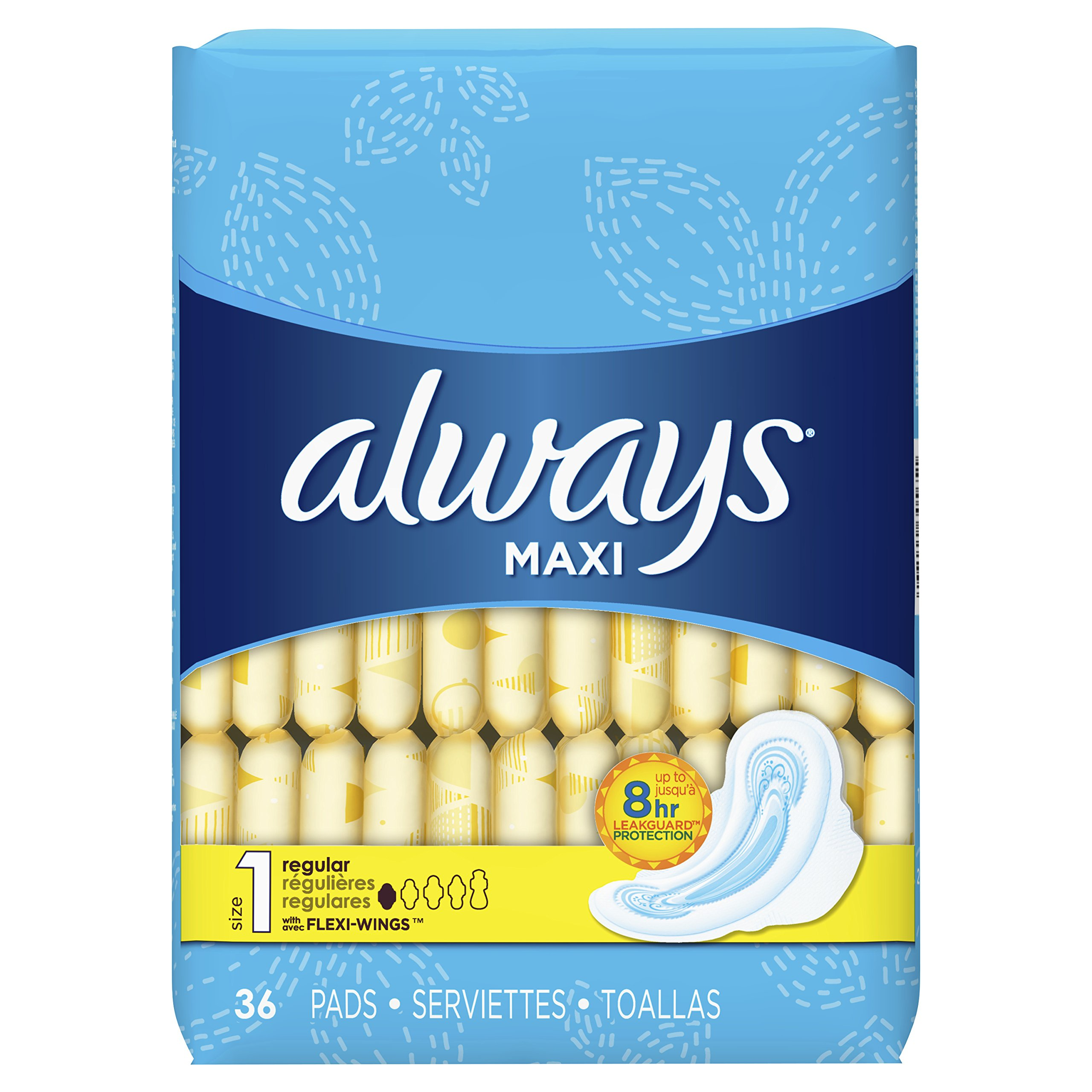 Always Maxi, Size 1, Regular Pads with Wings, Unscented, 36 Count