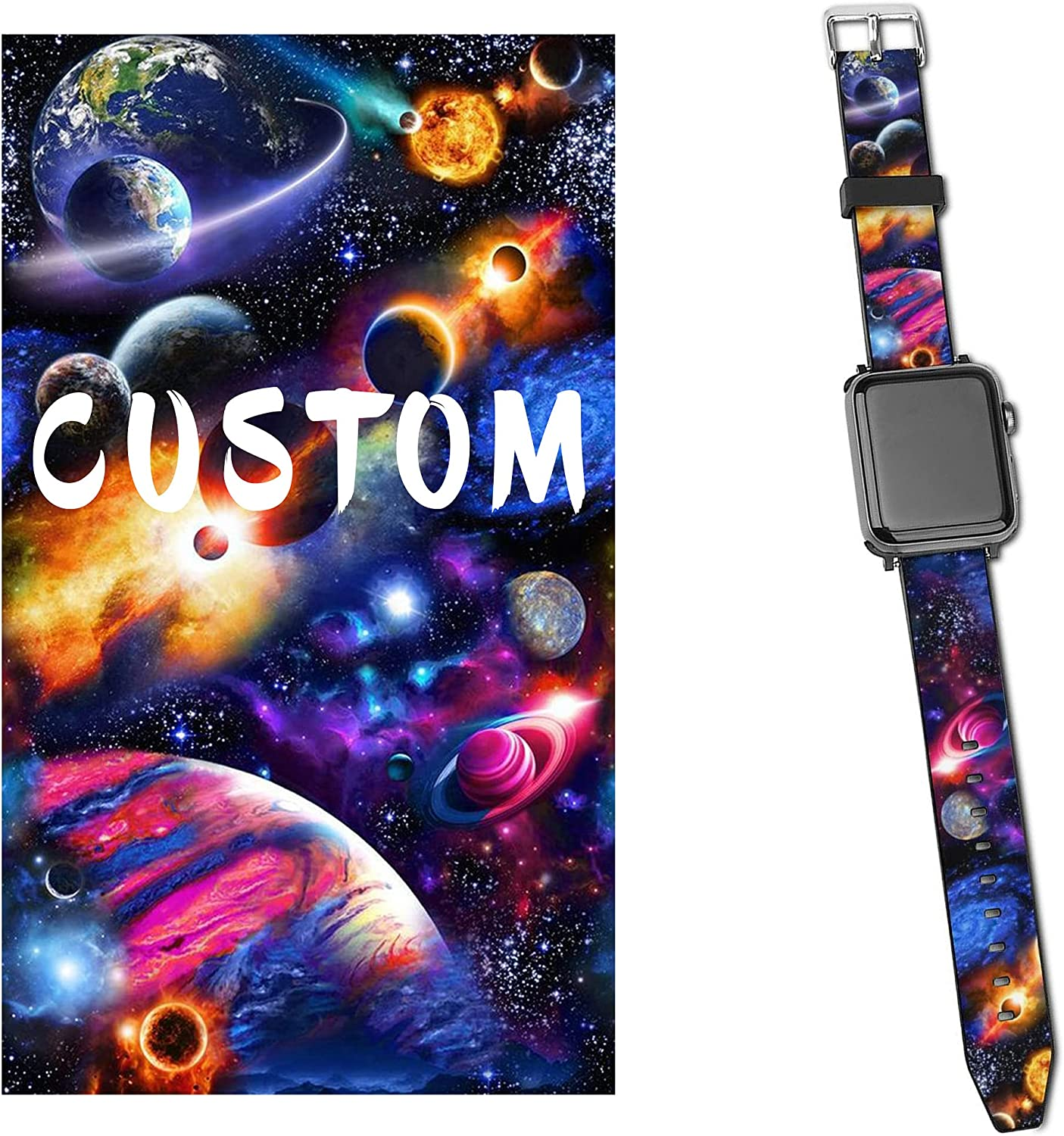 CUSTOM Band Compatible with Apple Watch Series SE 6 5 4 3 44mm 40mm 42mm 38mm Your Photo Text iWatch Personalized Bands Replacement Strap Leather Bands For Men Women Kid