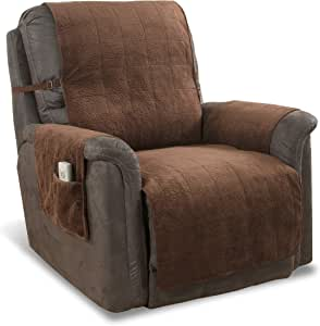 """Link Shades Anti-Slip Heavy Duty Recliner Armchair Protector   Water Resistant Microsuede Slipcover   Stay-Put Straps   Cover Protects from Dogs & Other Pets (Recliner, up to 23"""" seat, Chocolate)"""