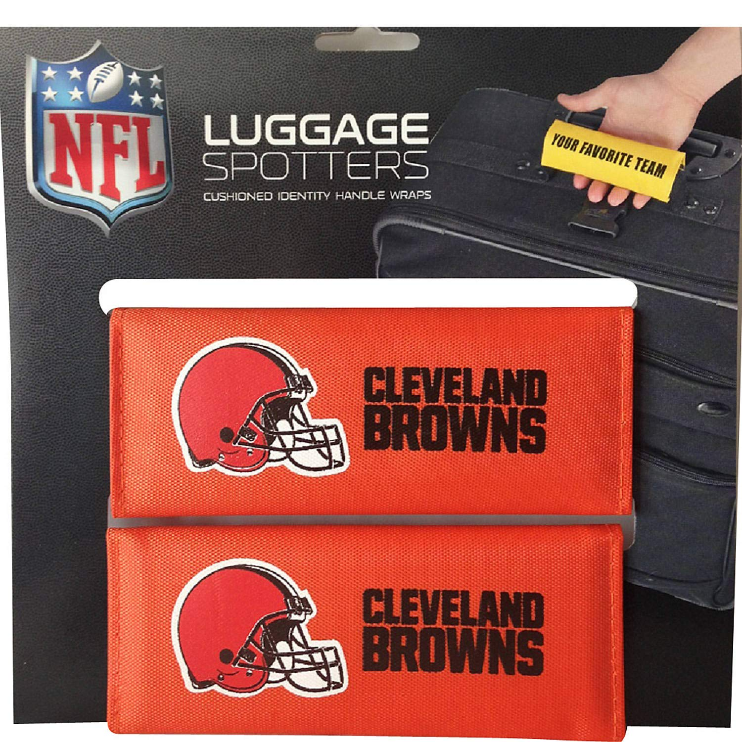 BROWNS Luggage Spotter Suitcase Handle Wrap Bag Tag Locator with I.D. Pocket (2-PK) - CLOSEOUT! ALMOST GONE! Matrix Source CLEVEBROWN