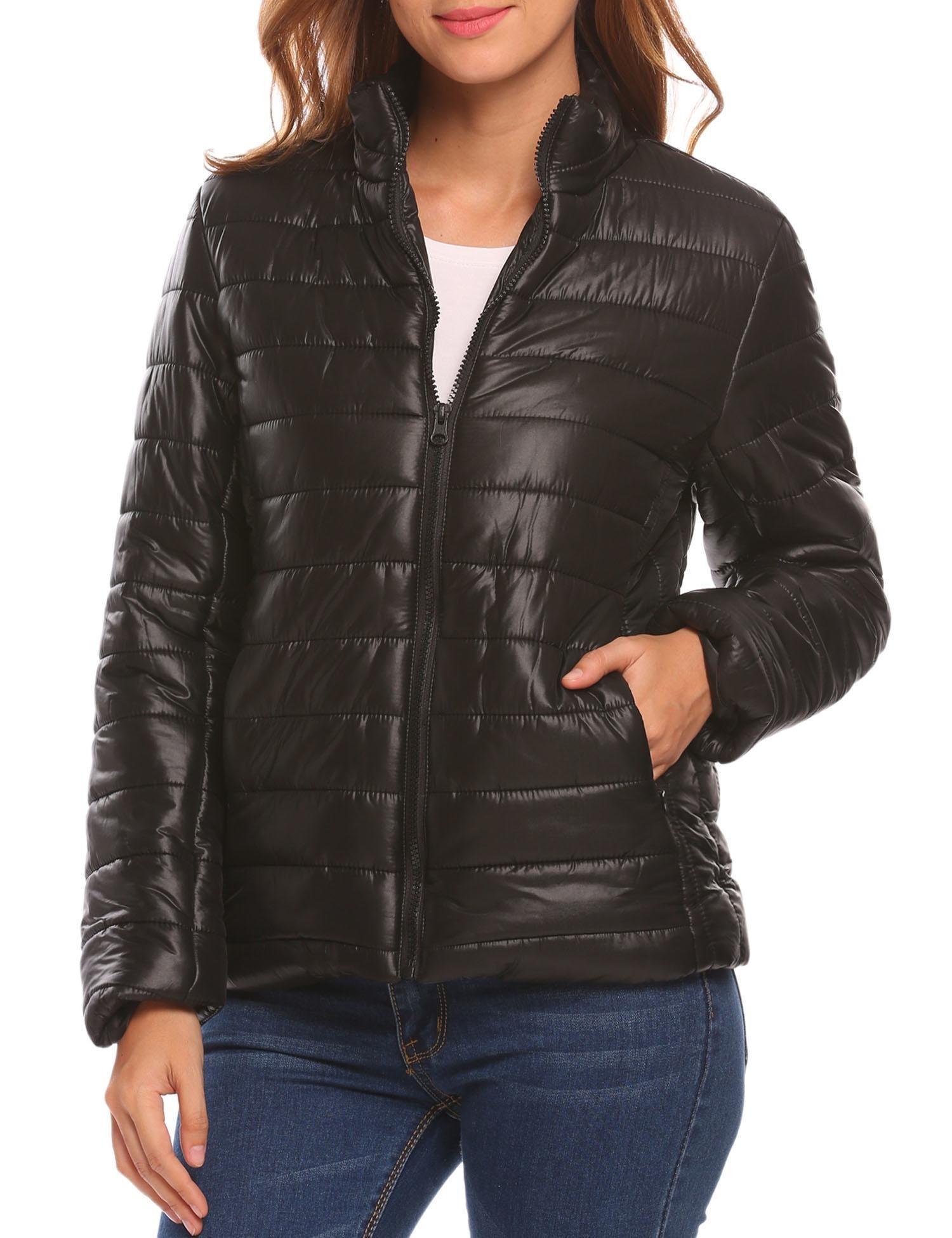 BEAUTYTALK Women's Lightweight Packable Outwear Puffer Coat Short Jacket(Black,L)