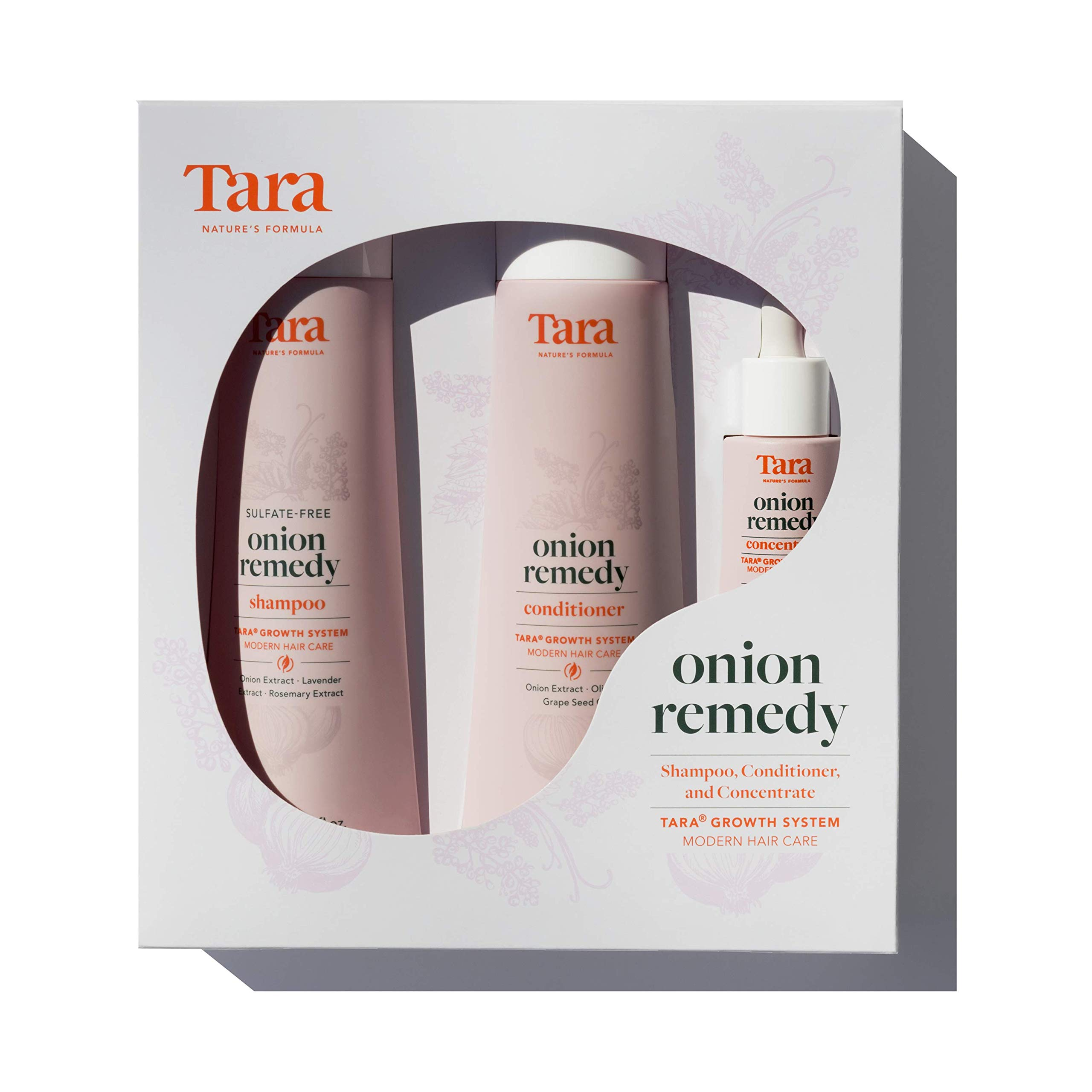 Tara Nature's Formula Onion Remedy Hair & Root Revival System Concentrate, Shampoo and Conditioner Set - Formulated To Hair Thicker and Fuller, Hair Follicles and Scalp Treatment - 3 Pc Set