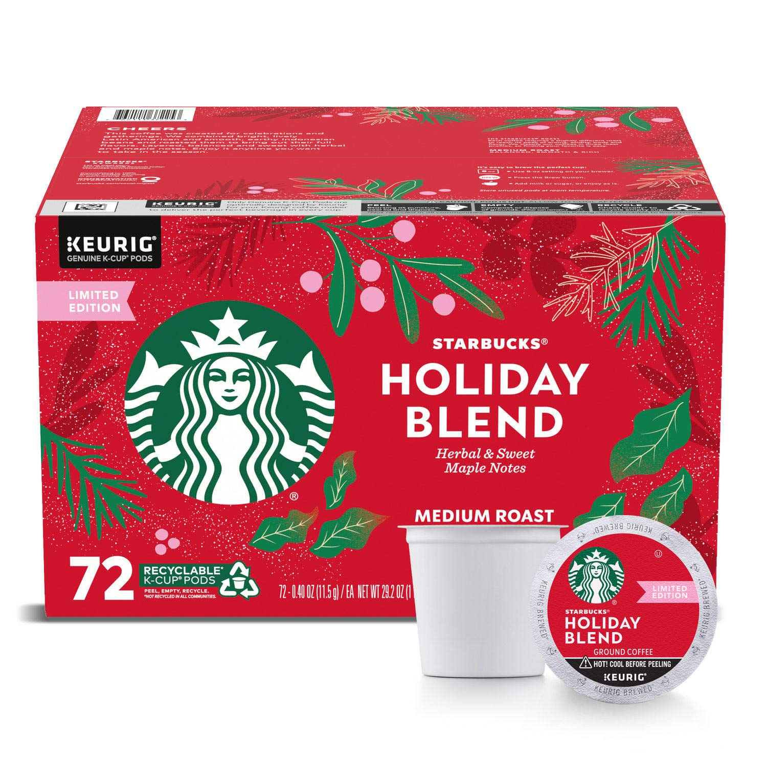 Starbucks Christmas Blend 2020 Kcup Starbucks Coffee Holiday Blend K Cup Pods, 72Count,, 29.2 Oz