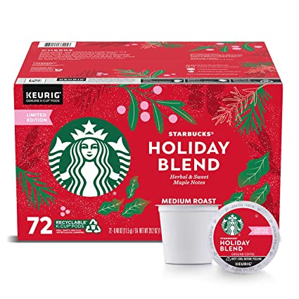 Starbucks Christmas K Cups 2020 Starbucks Coffee Holiday Blend K Cup Pods, 72Count,, 29.2 Oz