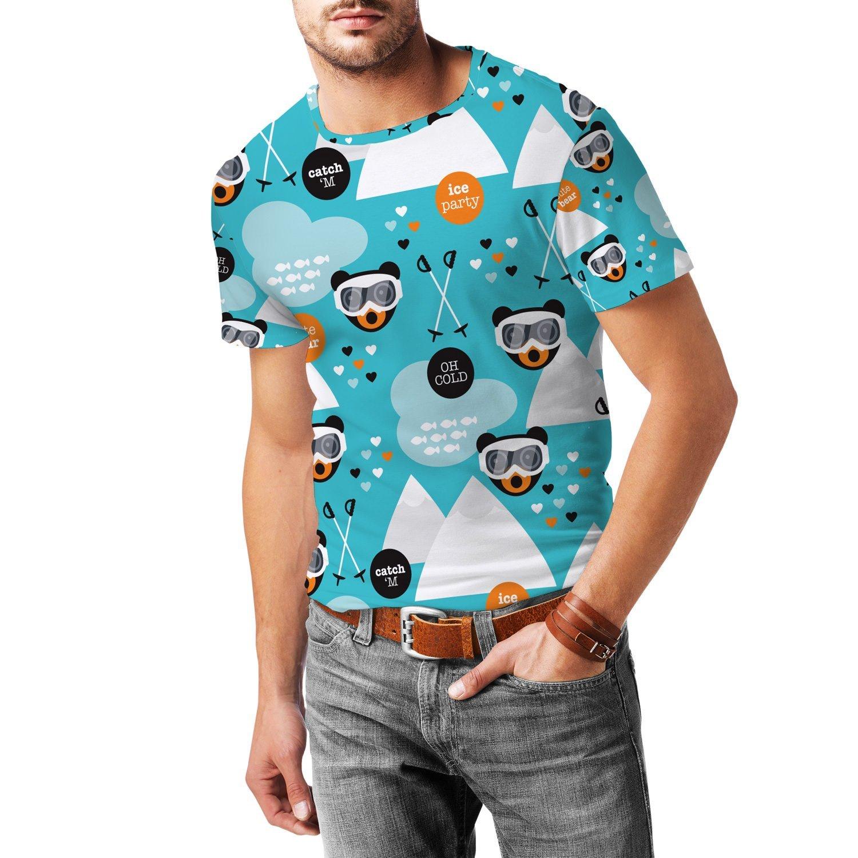 Ski Fun Bears Mens Cotton Blend T-Shirt Herren