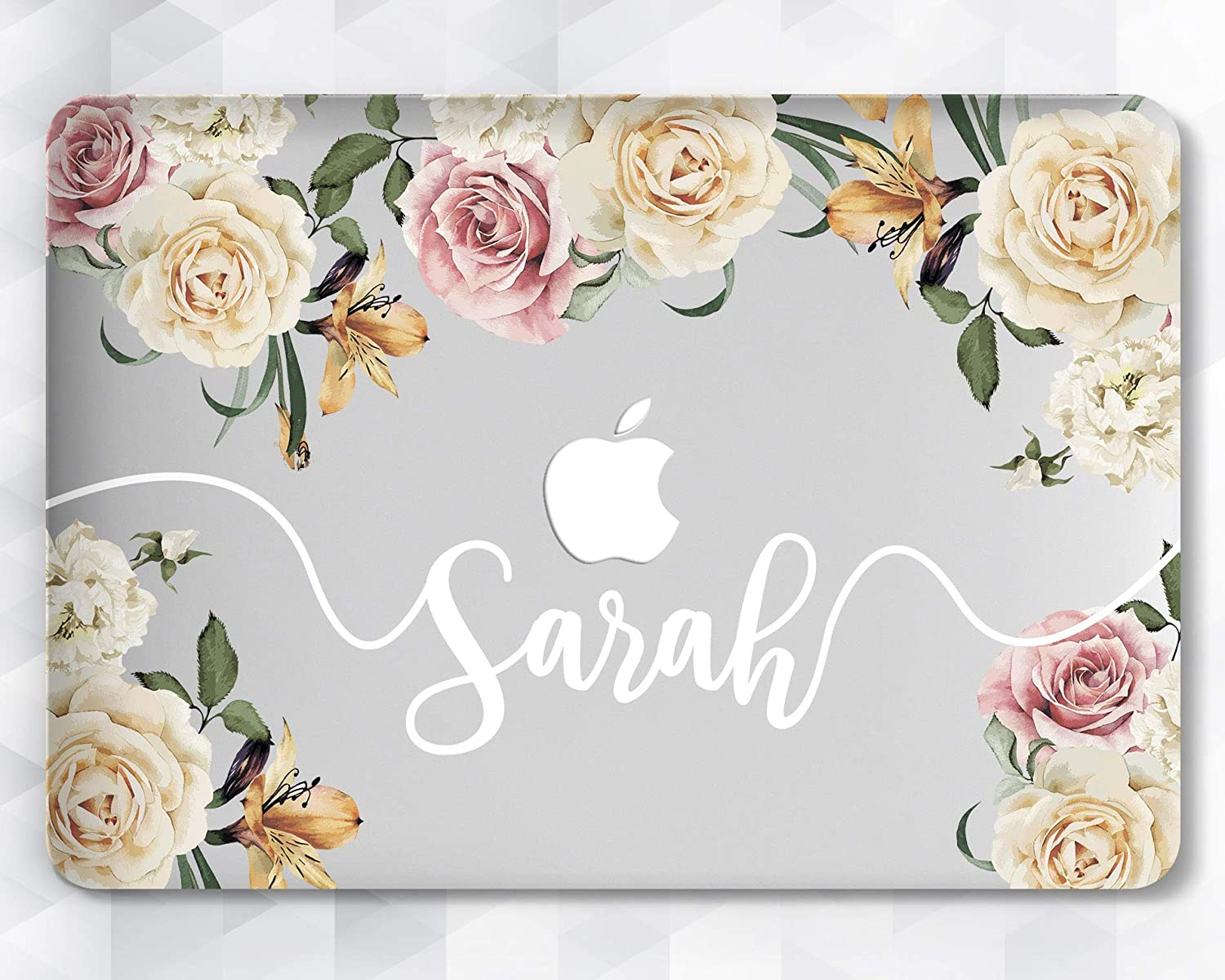 Floral Custom Name Flower Girly Case For Apple Macbook 12 Air 11 13 Pro 13 15 2016/2017/2018 Inch Retina Display Touch Bar
