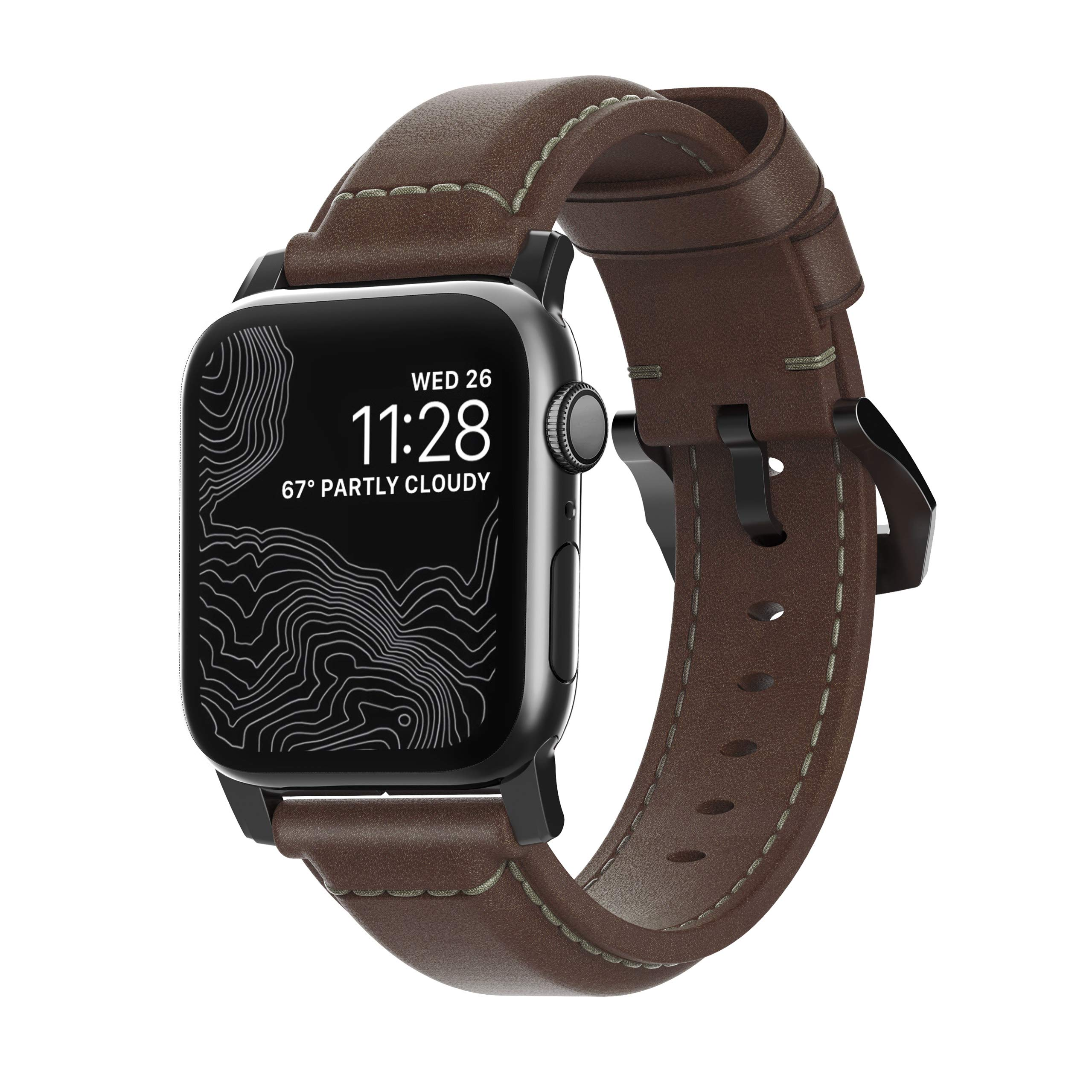 Nomad Traditional Strap for Apple Watch 40mm/38mm | Rustic Brown Horween Leather | Black Hardware by Nomad