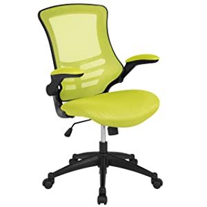 Flash Furniture Mid-Back Green Mesh Swivel Ergonomic Task Office Chair with Flip-Up Arms