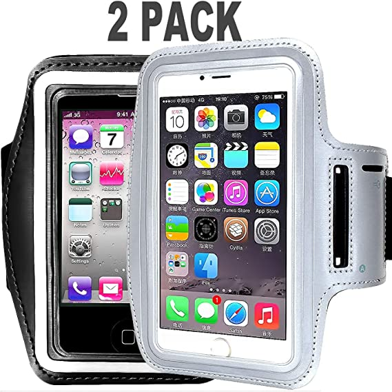 S7//S6 Edge PIxel XL All Galaxy Note Phones Adjustable Reflective Velcro Workout Band /& Screen Protector 6//6S Plus S8 Water Resistant Cell Phone Armband- 5.7 Inch Case for iPhone 7 Plus Grey