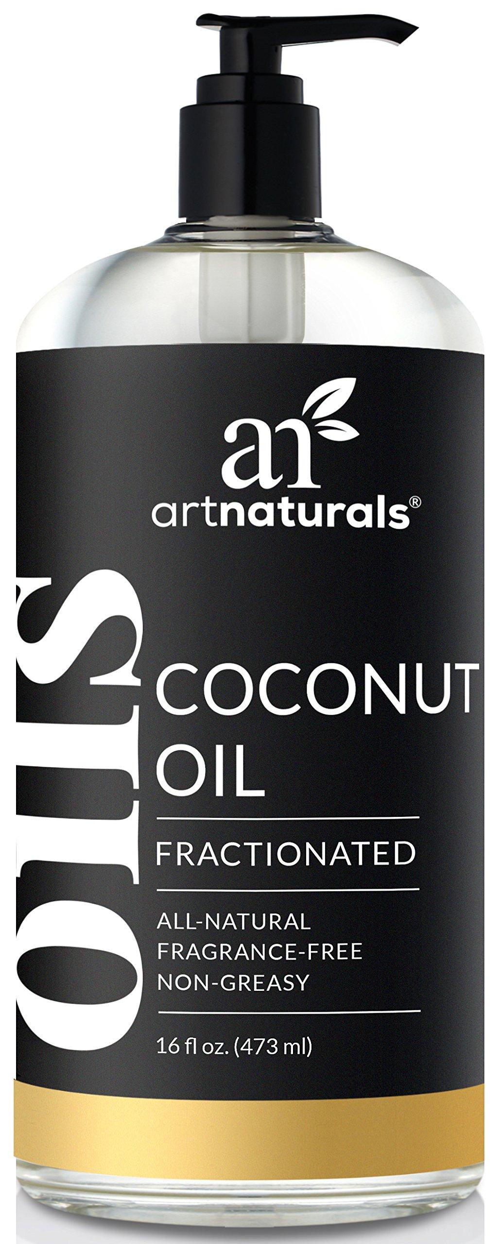 ArtNaturals 100% Natural Organic Pure Fractionated Coconut Oil Liquid for skin - 16 Oz Premium Therapeutic Grade - Coconut Massage Oil and Carrier Oil for Essential Oils
