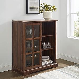 Walker Edison Wood Sliding Glass Bar Cabinet Entryway Serving Wine Storage Doors Dining Room Console, 36 Inch, Dark Walnut Brown