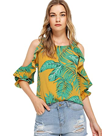 5ea0ef2293984e Milumia Women's Tropical Floral Print Open Shoulder Frill Trim Blouse Tops  at Amazon Women's Clothing store: