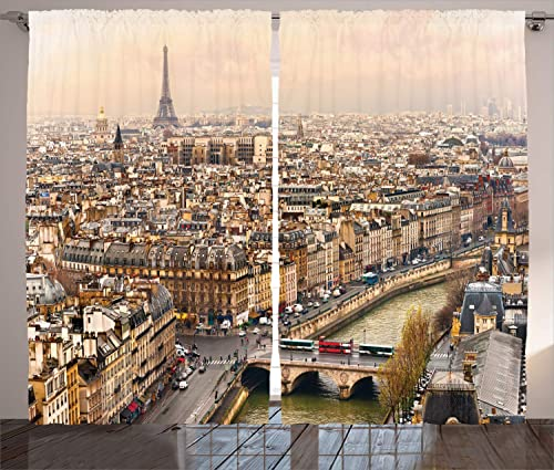 Ambesonne Eiffel Tower Curtains, Paris Streets Busy Day Buildings Bridge River City Horizon Photography Print, Living Room Bedroom Window Drapes 2 Panel Set, 108 X 84 , Beige