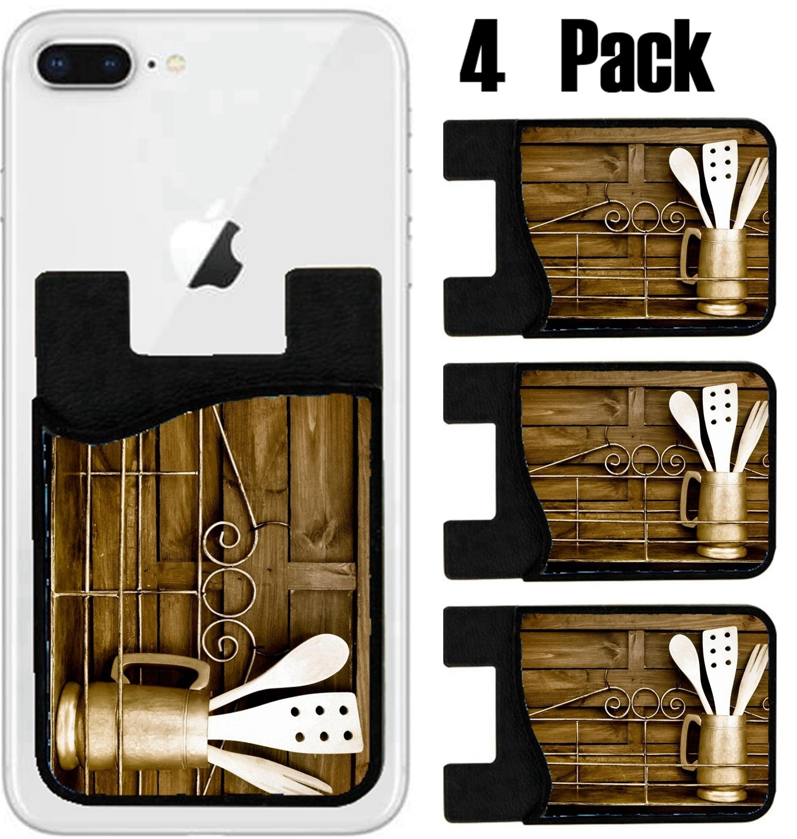 MSD Phone Card holder, sleeve/wallet for iPhone Samsung Android and all smartphones with removable microfiber screen cleaner Silicone card Caddy(4 Pack) IMAGE ID 29089178 Kitchen cooking utensils wood