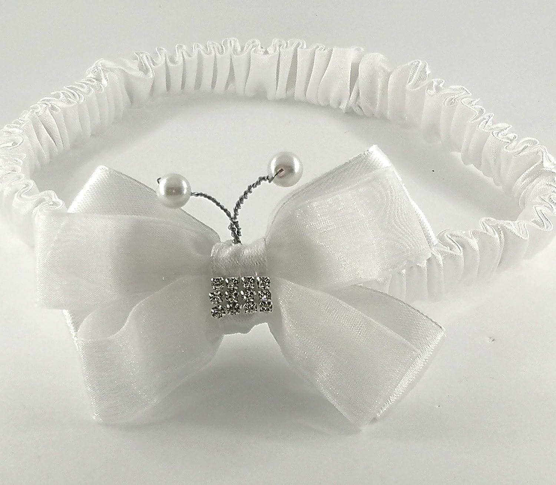 Fascetta neonata battesimo bianca-fatta a mano