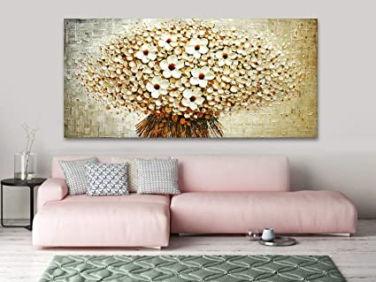 Amazon Com Faicai Art Handmade White Flower Bouquet Paintings