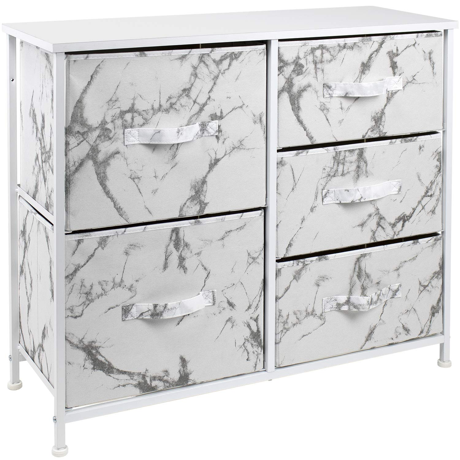 Sorbus Dresser with 5 Drawers - Furniture Storage Tower Unit for Bedroom, Hallway, Closet, Office Organization - Steel Frame, Wood Top, Fabric Bins (5-Drawer Dresser Chest, Marble White – White Frame)