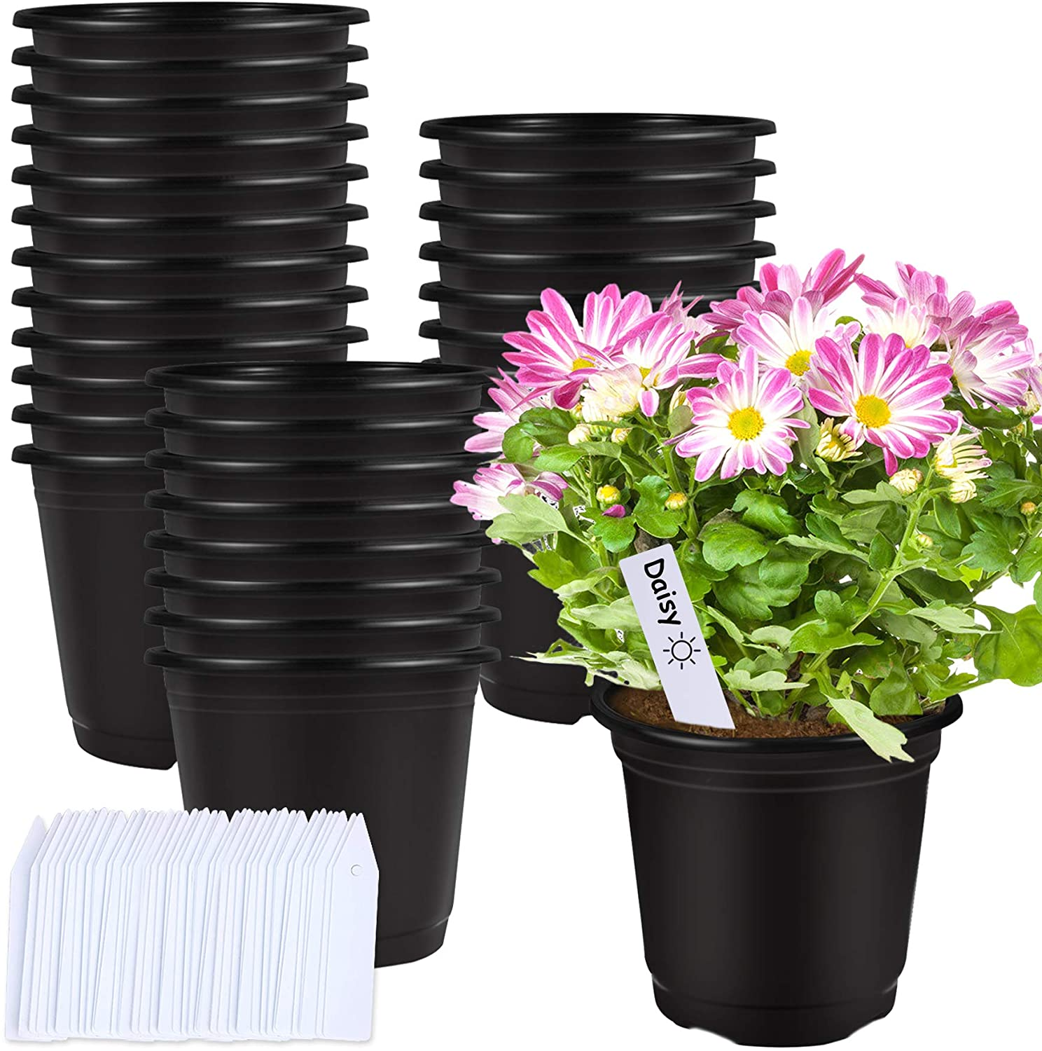 50 Pcs 0.5 Gallon Black Plastic Plant Nursery Pots 6 Inches Seed Starting Pots Containers with 50 Labels