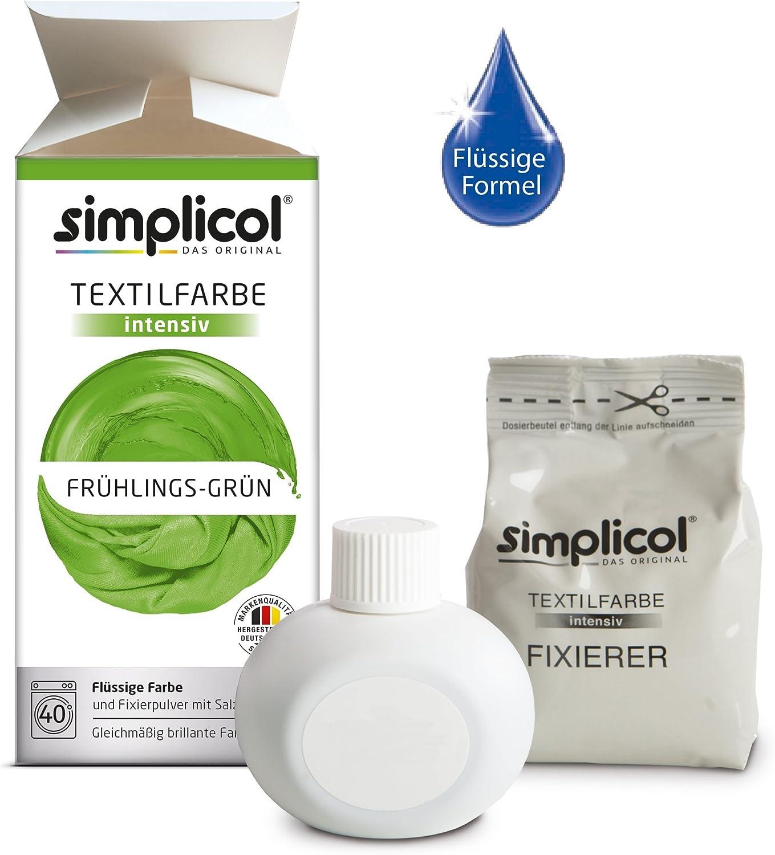 Simplicol Kit de Tinte Textile Dye Intensive Verde: Colorante para Teñir Ropa, Tejidos y Telas Lavadora, Contiene Fijador para Colorante Líquido, Anti ...