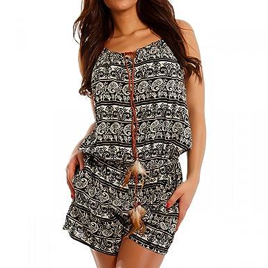 Damen Overall Jumpsuit Short Allover-Druck, Farbe:Mehrfarbig/Model3;Größe: