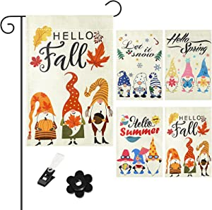 Tatuo 4 Pieces Seasonal Gnomes Garden Flags Set Hello Spring Summer Fall Winter Colorful Party Decoration Supplies Double Sided Burlap House Flag for Home Indoor Outdoor Yard Lawn, 12.6 x 18.5 Inch