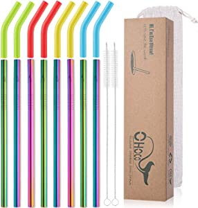Reusable Stainless Steel Metal Drinking Straws with Flexible Silicone Tips - Extra Long x 8mm Wide for 30oz 20oz Tumblers, Set of 8 with 2 Cleaning Brushes 1 Portable Case, Rainbow