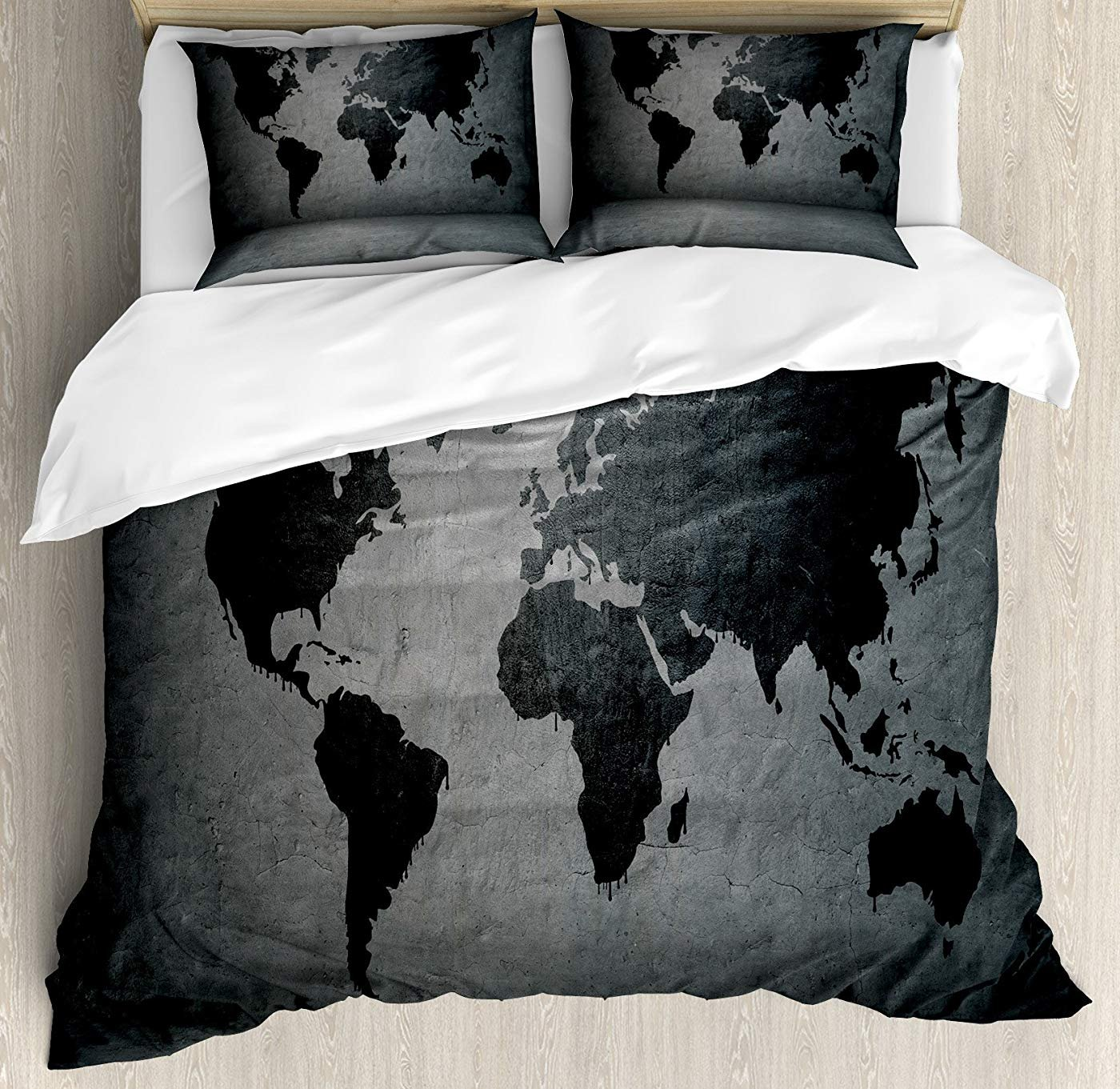 LEO BON Dark Grey Duvet Cover Set Twin Size, Black Colored World Map on Concrete Wall Image Urban Structure Grungy Rough Look Floral Duvet Cover and Pillow Shams Bed Set, Grey Black