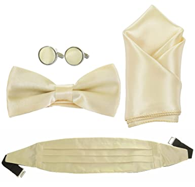 a4fe25ffc16c MENS OR BOYS BOW TIE, CUMMERBUND, CUFFLINKS AND HANDKERCHIEF SET FOUR PIECE  SET (Boys Cummerbund Set, Antique Ivory): Amazon.co.uk: Clothing