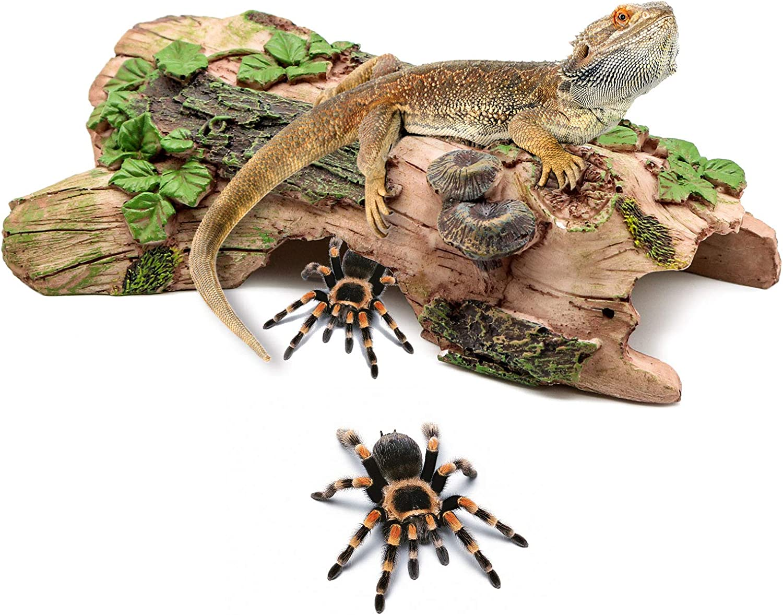 BWOGUE Reptile Habitat Decor Hideouts Log Hideaway Critter Cavern Bark Bends Resin Wood Decorations Hiding Place for Lizards Leopard Gecko Spiders Snakes Fish Shrimp Turtle