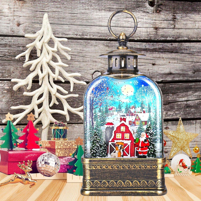 CaiFang Black Christmas Snow Globe Lantern, Musical Church Shaped Xmas Snow Lamp Lantern, Lighted Glitter Water Lantern, Great Home Decoration and Gift