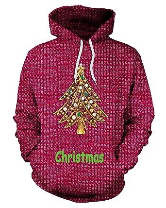 JOLIFEI Mens Unisex Christmas Jumpers 3D Printed Light Up Elf Santa ...