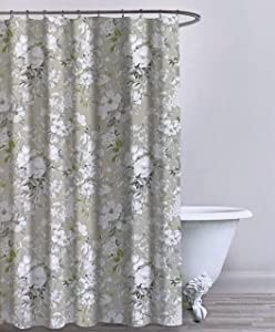 Envogue Designer Shower Curtain Floral Blooms Pattern in Shades of White Gray Green on Beige 100% Cotton Luxury