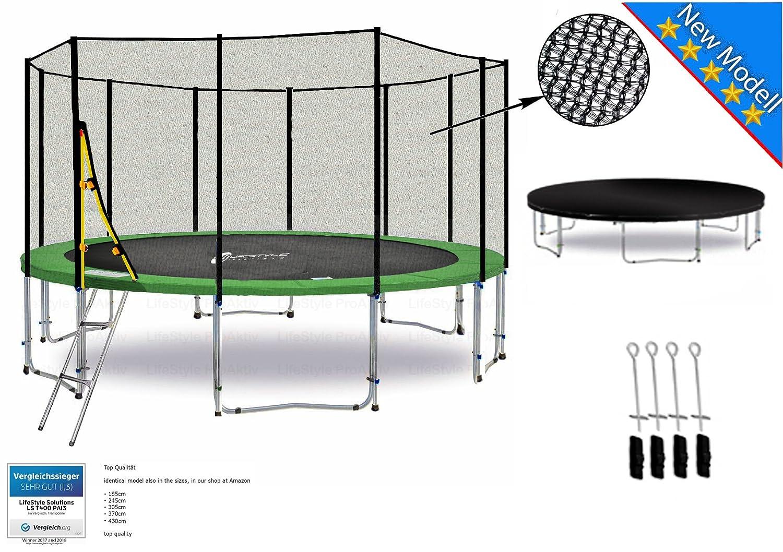 LS-T370-PA12 (GD) DELUXE LifeStyle ProAktiv Garten- Trampolin 370 cm - 12ft - Extra Starkes Sicherheitsnetz - 180kg Traglast - Neu