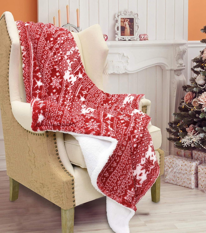 "Catalonia Christmas Sherpa Throw Blanket, Plush Fleece Super Soft Warm Shu Velveteen Lambswool Reversible Snowflake Pattern Christmas Theme Fuzzy Blanket 61""x50""Red"