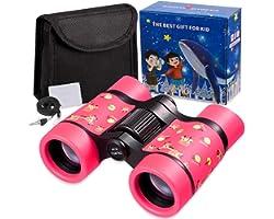 Newraturner Rubber 4x30mm Toy Binoculars for Kids - Waterproof Folding Small Kids Telescope for Bird Watching,Travel, Camping