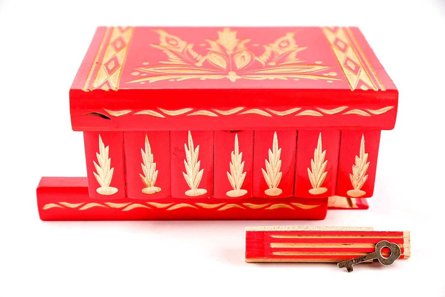Handmade Wooden Case with Hidden Key and Removable Compartments Pink Beautiful Classical Wooden Carved Jewelry Puzzle Box Kalotart Jewelry and Puzzle Box 2 in 1