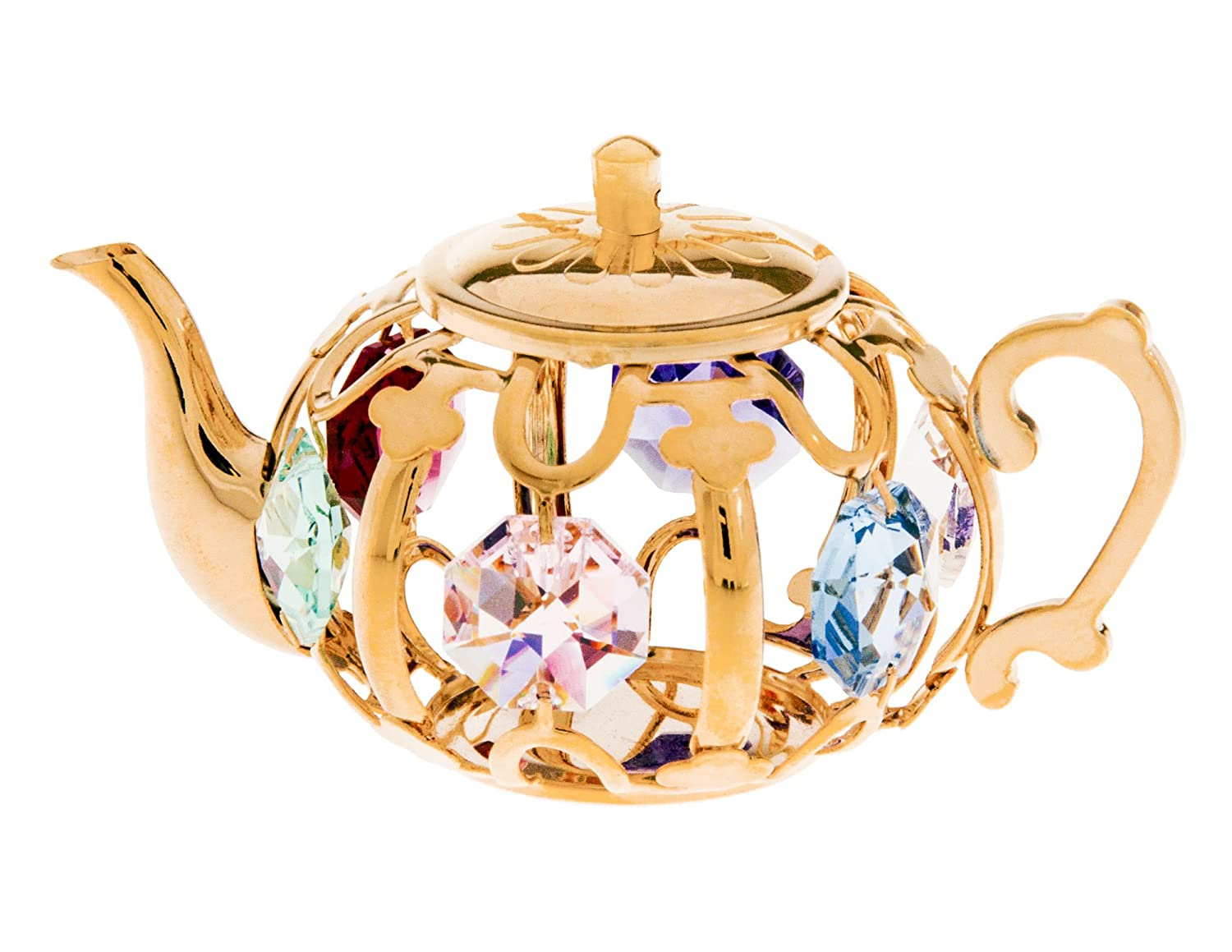 Amazon.com: Teapot 24k Gold Plated Metal Figurine with Clear Spectra ...