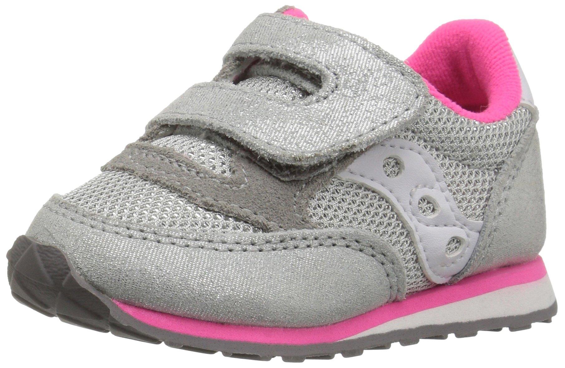 Saucony Jazz Hook & Loop Sneaker (Toddler/Little Kid), Silver/Pink, 10 M US Toddler