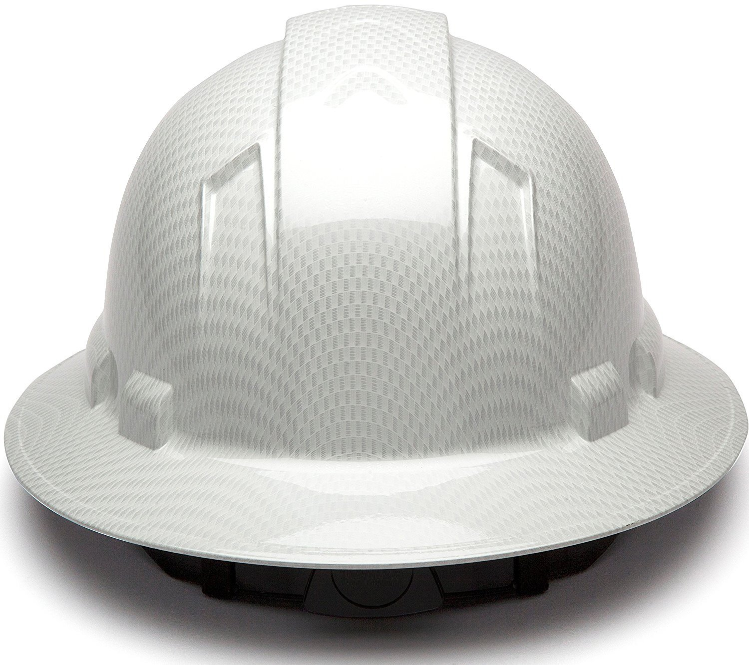 Full Brim Hard Hat, Adjustable Ratchet 4 Pt Suspension, Durable Protection safety helmet, Graphite Pattern Design, White Shiny, by Tuff America