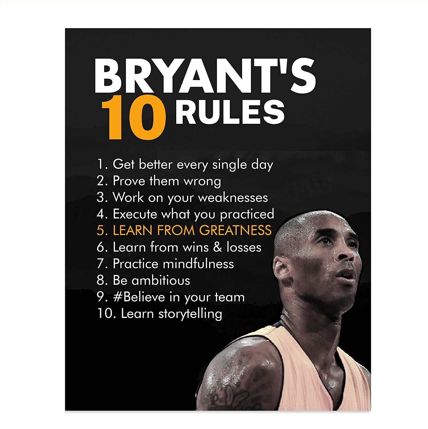 """Kobe Bryant Quotes-/""""Bryant/'s Ten Rules/"""" 8 x 10/"""" Motivational Basketball Poster"""