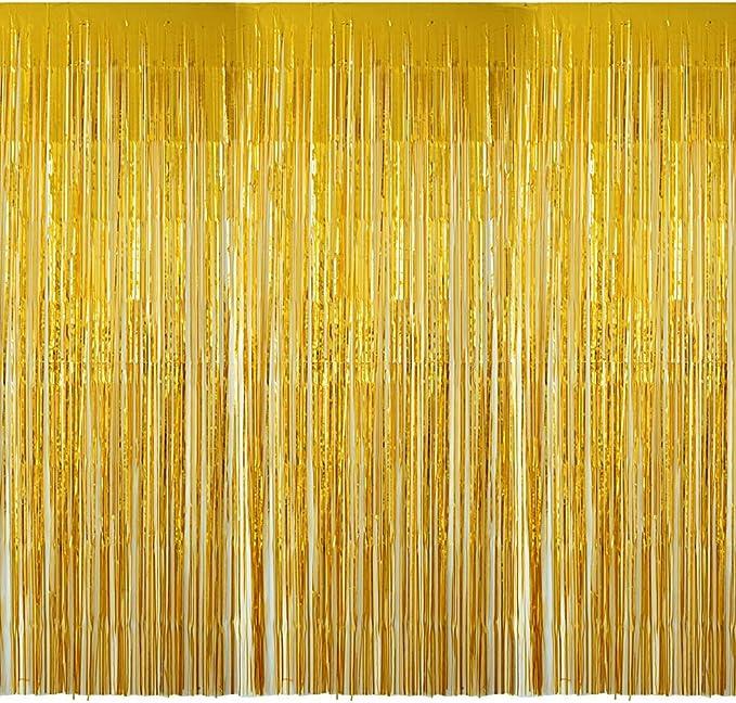 4 Packung Lametta Vorhang Glitzer Gold Glitzervorhang Fringe Vorhang Fransen Vorhang