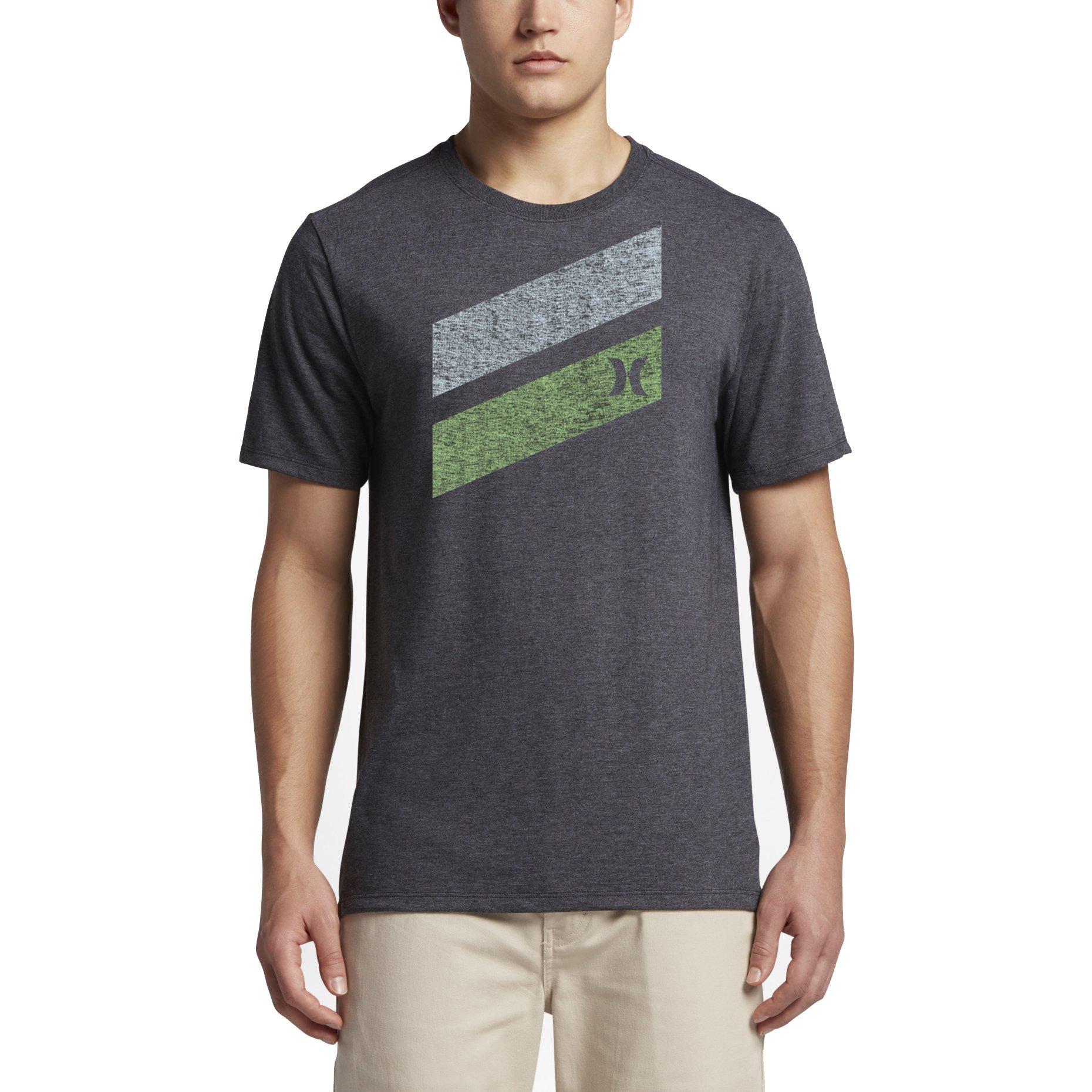 10a522fec8 Hurley MTS0023550 Men's Icon Slash Push Through T-Shirt, Black Heather 8 - S