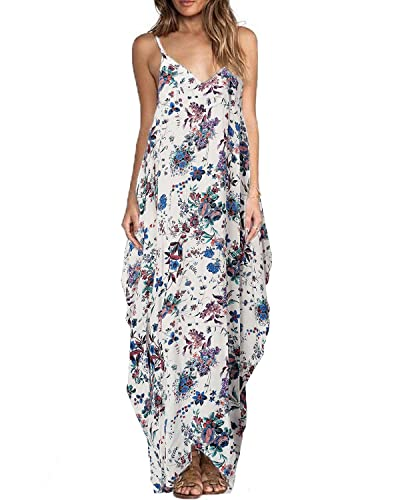 ZANZEA Women's Boho Floral Print V Neck Spaghetti Strap Long Maxi Dress Sundress