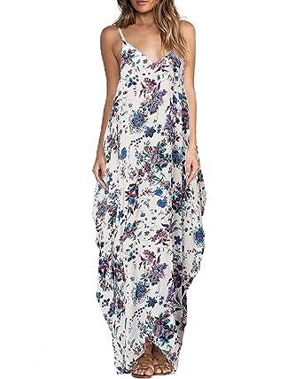 b74fa37c5eb4 ZANZEA Women s Boho Floral Print V Neck Spaghetti Strap Long Maxi Dress  Sundress Blue Flower S