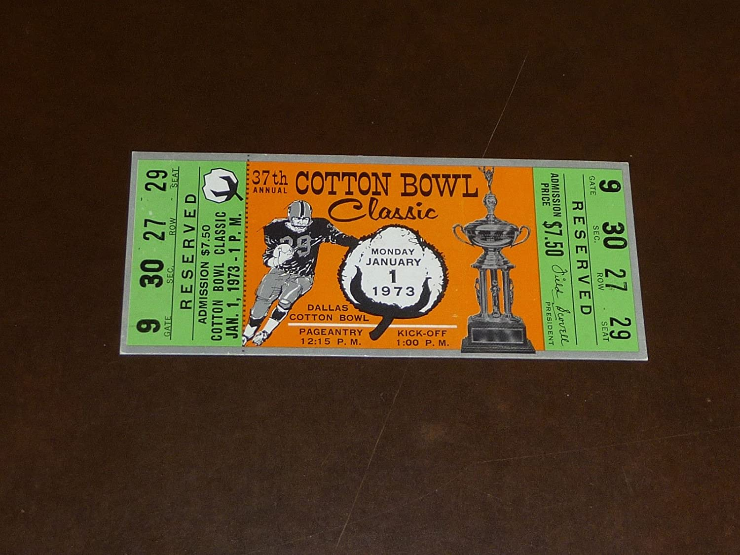 1973 COTTON BOWL FULL TICKET TEXAS VS ALABAMA At Amazons Sports Collectibles Store