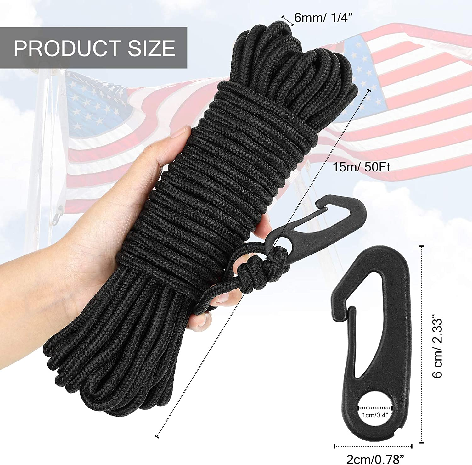 Flag Pole Halyard Rope for Flagpoles up to 25 Feet Tie Pull Swing Climb and Knot Black Flag Rope 50 Feet Flag Pole Halyard Rope and Clips Kit Black 4 Pieces Nylon Flag Pole Hook Clips Snap Hooks