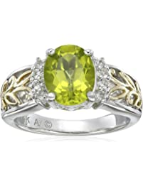 Sterling Silver and 14k Yellow Gold Oval Peridot and White Topaz Ring, Size 8