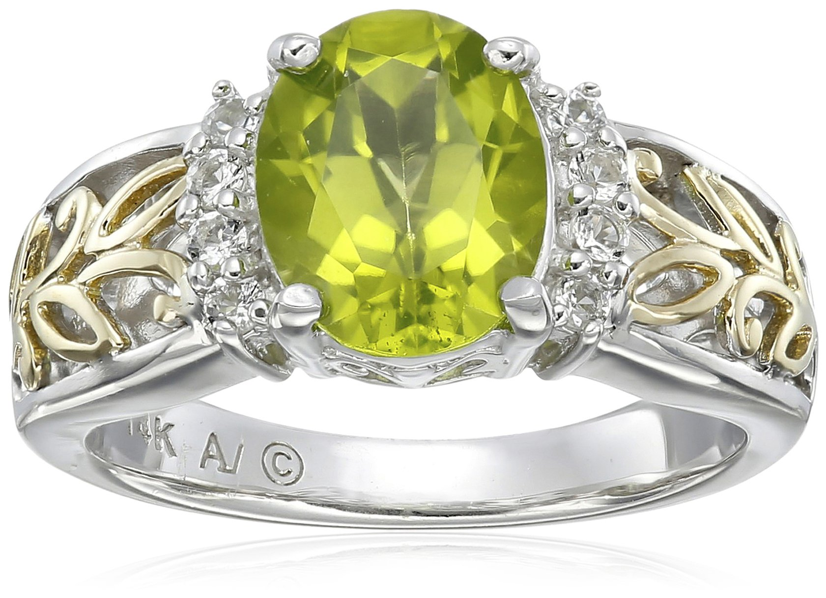 Sterling Silver and 14k Yellow Gold Oval Peridot and White Topaz Ring, Size 7